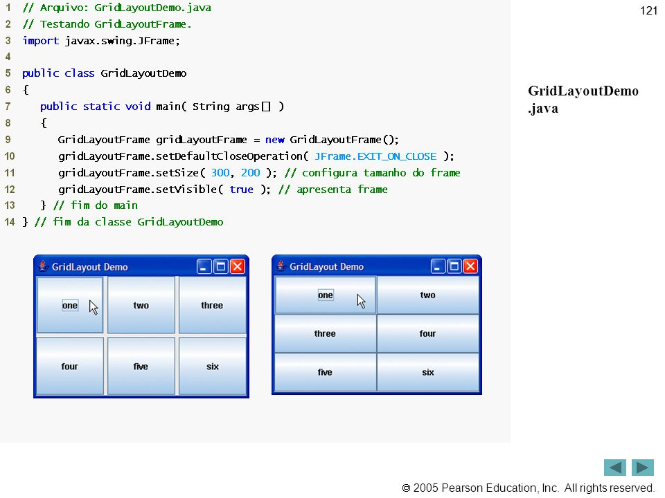 121 Outline GridLayoutDemo .java
