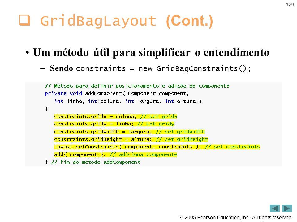 GridBagLayout (Cont.) Um método útil para simplificar o entendimento