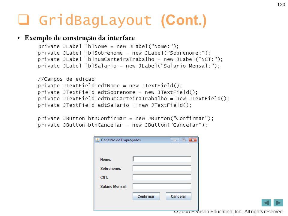 GridBagLayout (Cont.) Exemplo de construção da interface