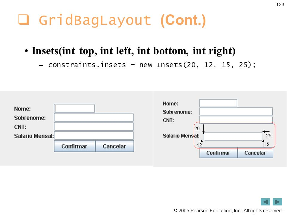 GridBagLayout (Cont.) Insets(int top, int left, int bottom, int right)