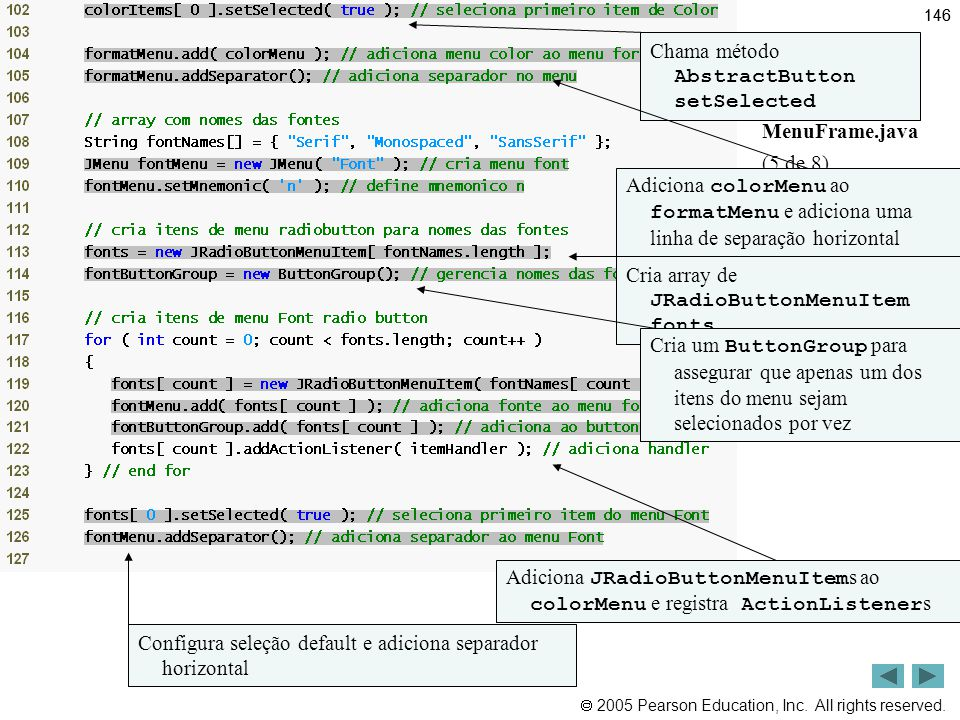Outline Chama método AbstractButton setSelected MenuFrame.java