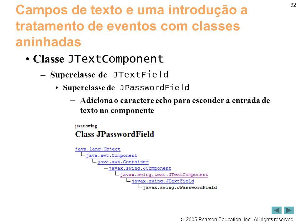 32 Campos de texto e uma introdução a tratamento de eventos com classes aninhadas. Classe JTextComponent.