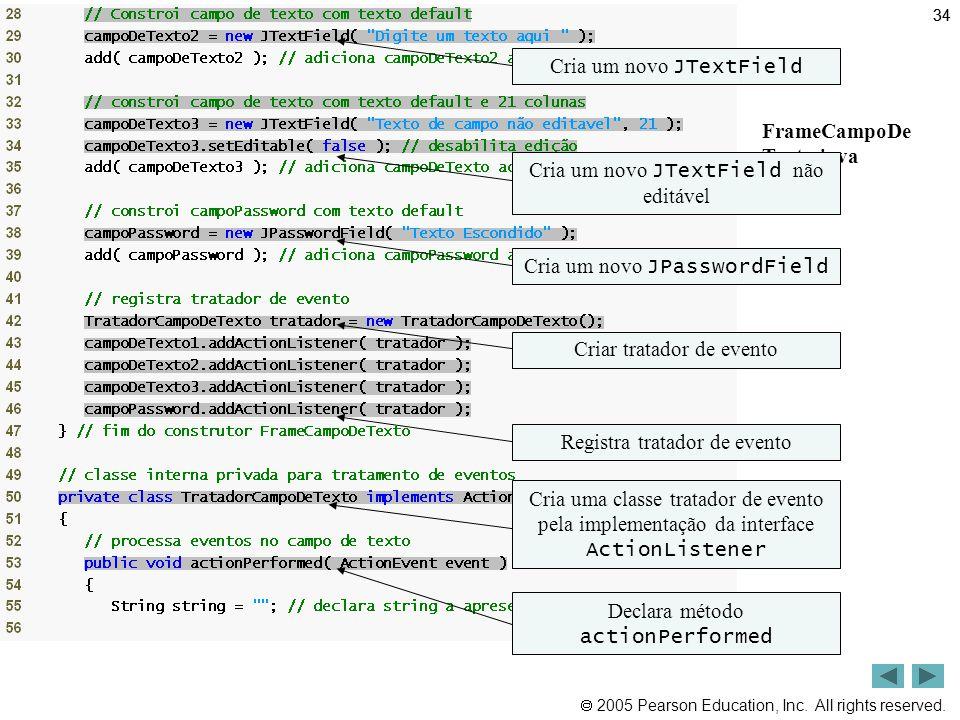 Resumo Cria um novo JTextField FrameCampoDe Texto.java (2 de 3)