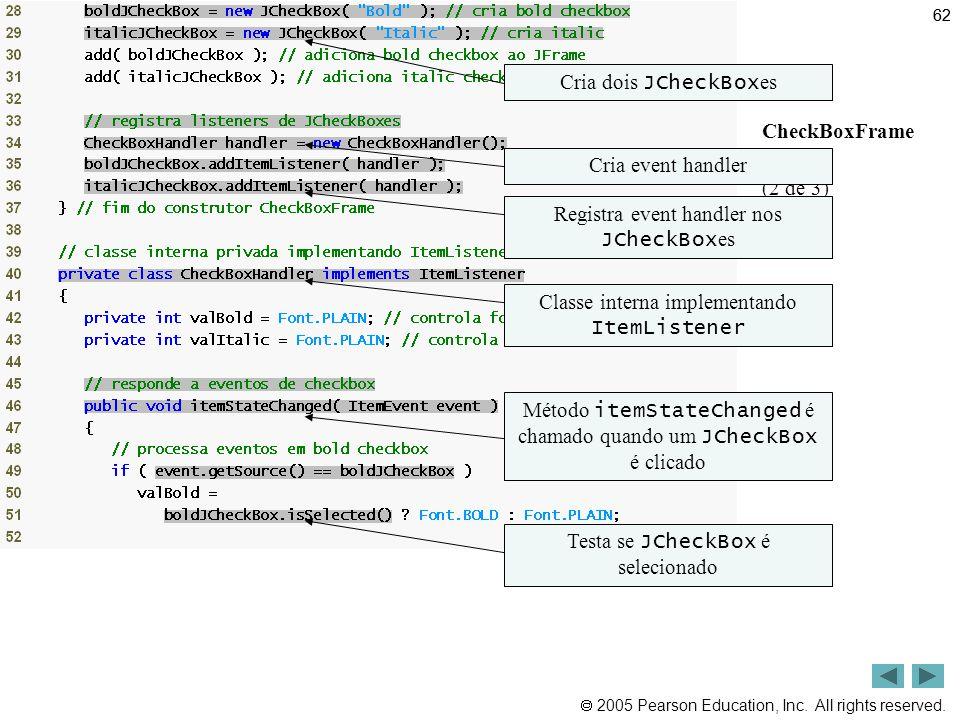 Outline Cria dois JCheckBoxes CheckBoxFrame .java (2 de 3)