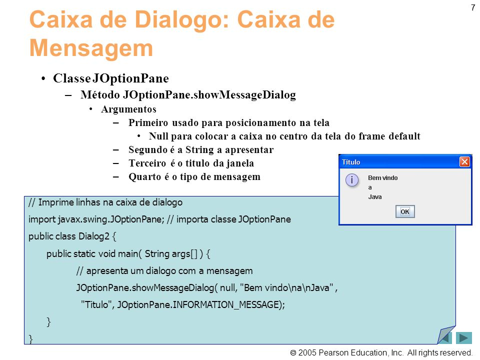 Caixa de Dialogo: Caixa de Mensagem