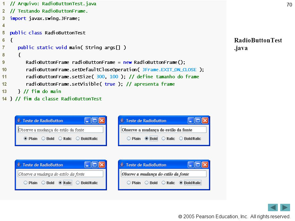 70 Outline RadioButtonTest .java