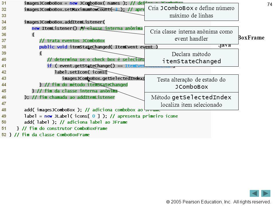 Outline Cria JComboBox e define número máximo de linhas