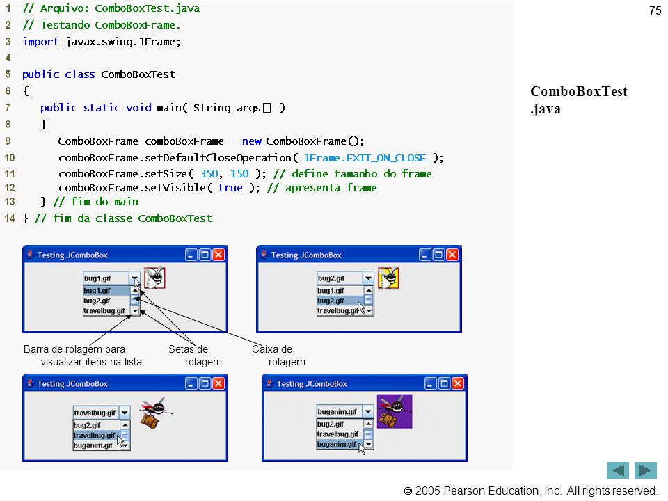 Outline ComboBoxTest .java 75