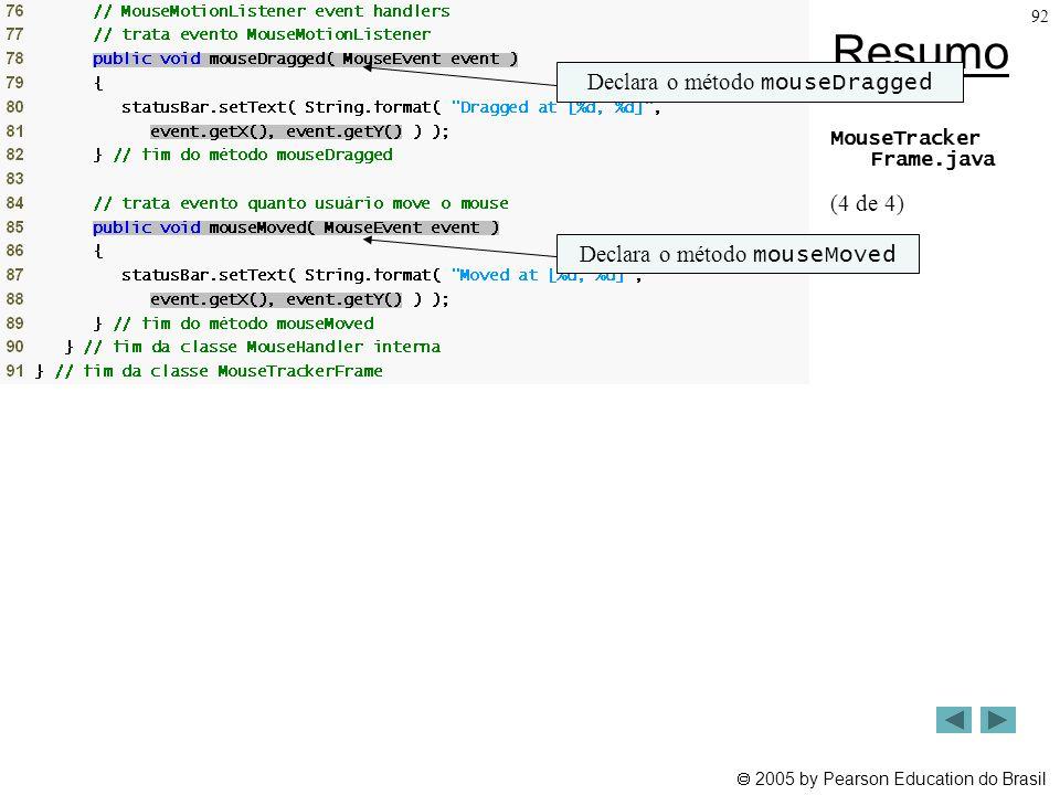 Resumo Declara o método mouseDragged (4 de 4)