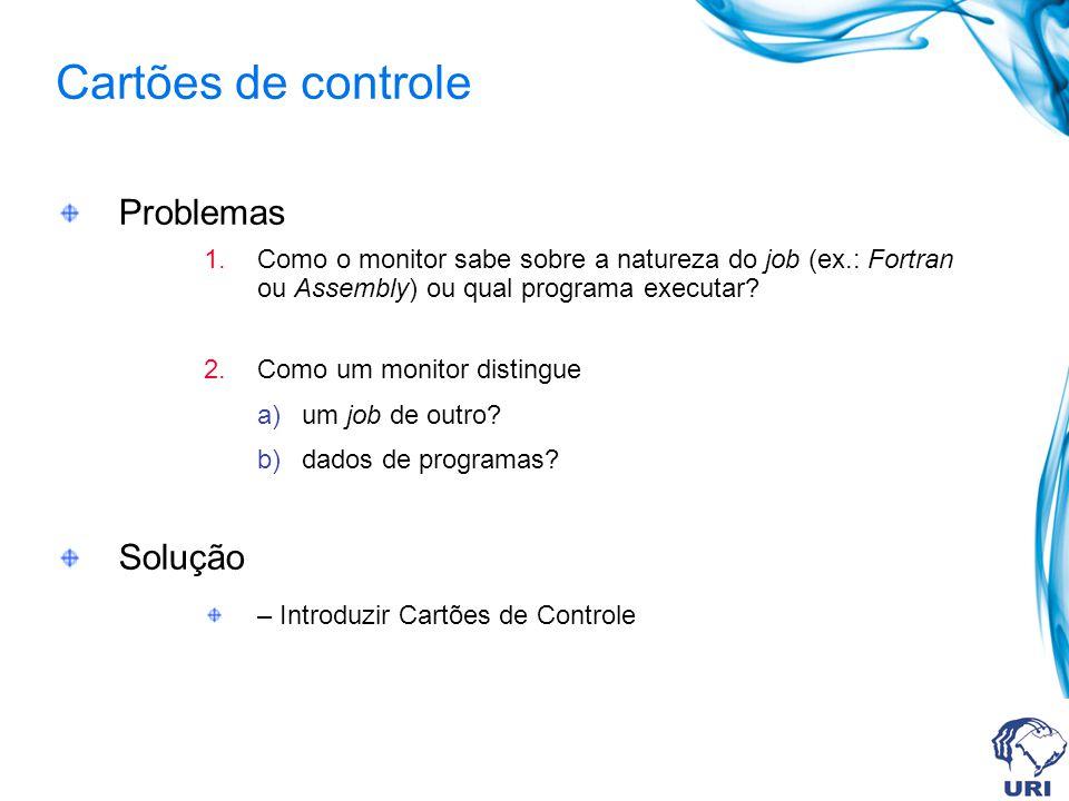 Cartões de controle Problemas Solução