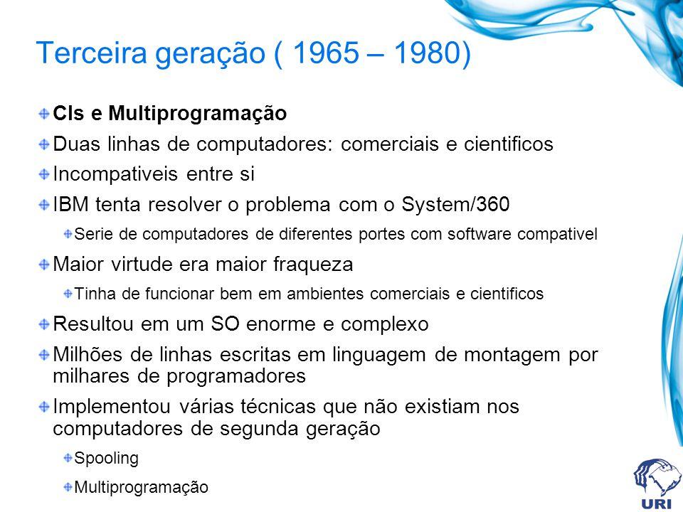 Terceira geração ( 1965 – 1980) CIs e Multiprogramação