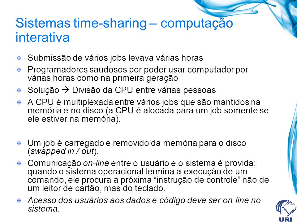 Sistemas time-sharing – computação interativa