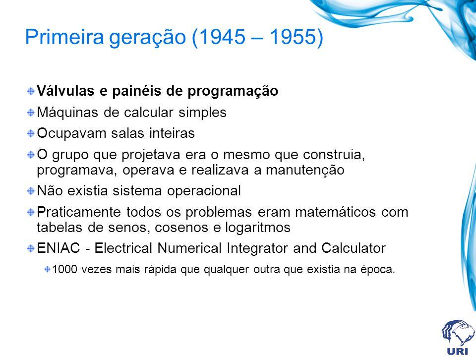 Primeira geração (1945 – 1955) Válvulas e painéis de programação