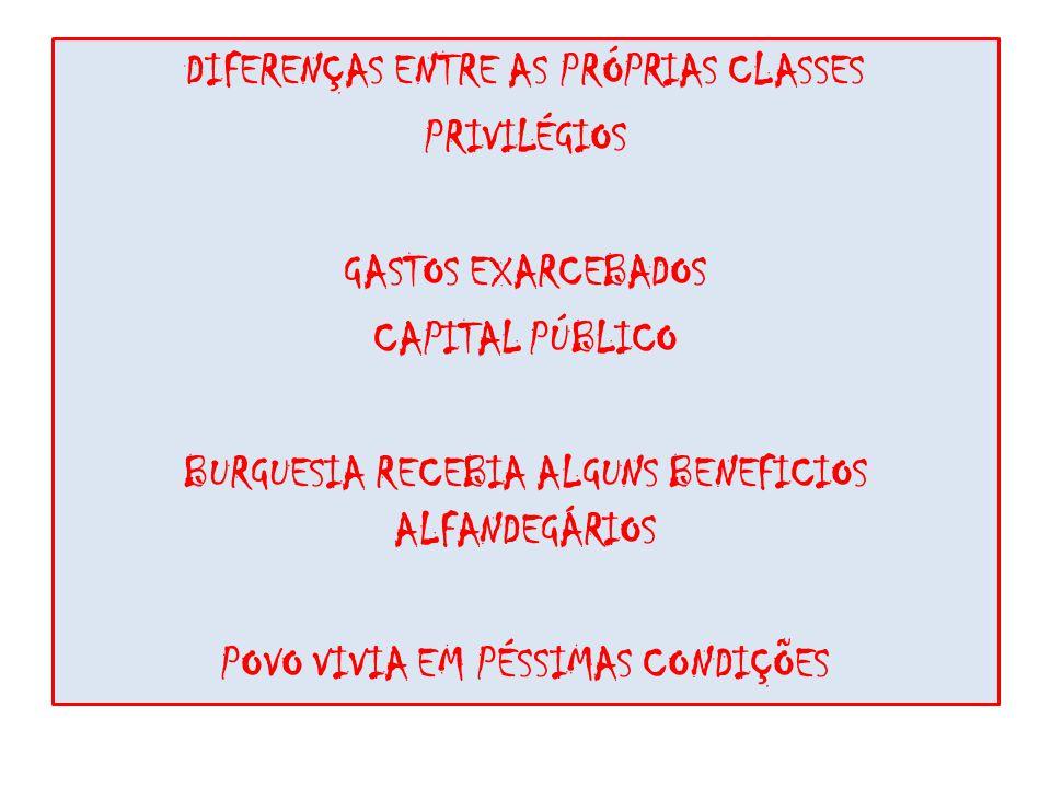 DIFERENÇAS ENTRE AS PRÓPRIAS CLASSES PRIVILÉGIOS GASTOS EXARCEBADOS CAPITAL PÚBLICO BURGUESIA RECEBIA ALGUNS BENEFICIOS ALFANDEGÁRIOS POVO VIVIA EM PÉSSIMAS CONDIÇÕES