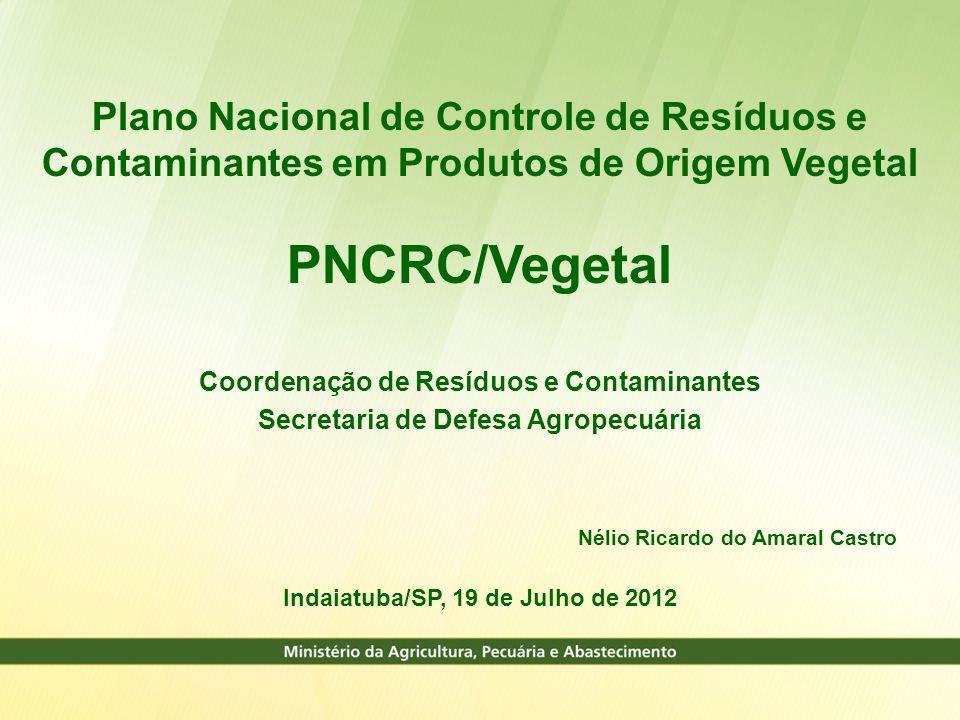 Plano Nacional de Controle de Resíduos e Contaminantes em Produtos de Origem Vegetal PNCRC/Vegetal