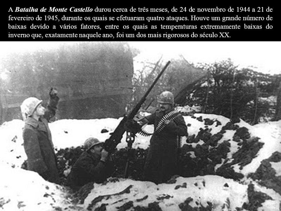 A Batalha de Monte Castello durou cerca de três meses, de 24 de novembro de 1944 a 21 de fevereiro de 1945, durante os quais se efetuaram quatro ataques.