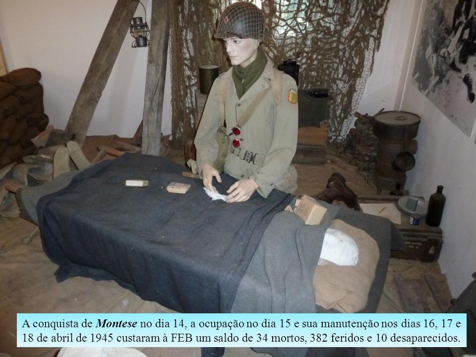 A conquista de Montese no dia 14, a ocupação no dia 15 e sua manutenção nos dias 16, 17 e 18 de abril de 1945 custaram à FEB um saldo de 34 mortos, 382 feridos e 10 desaparecidos.