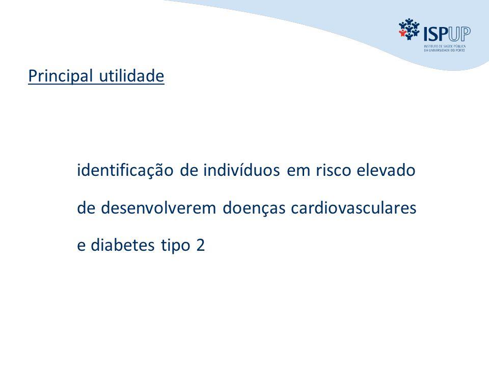 Principal utilidade identificação de indivíduos em risco elevado de desenvolverem doenças cardiovasculares e diabetes tipo 2.