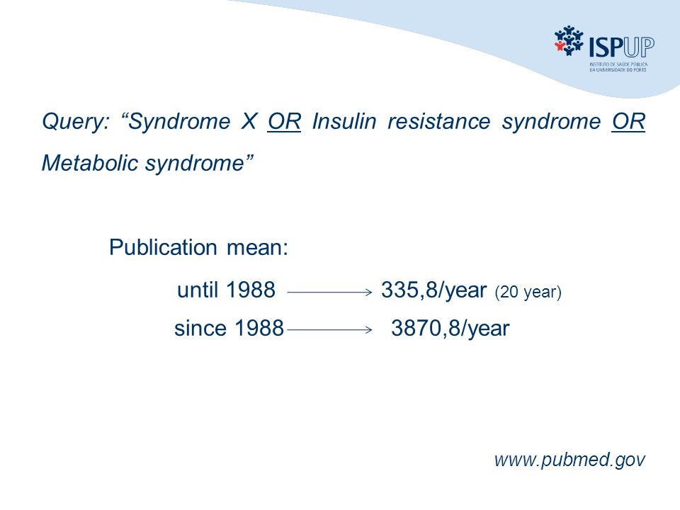 Query: Syndrome X OR Insulin resistance syndrome OR Metabolic syndrome