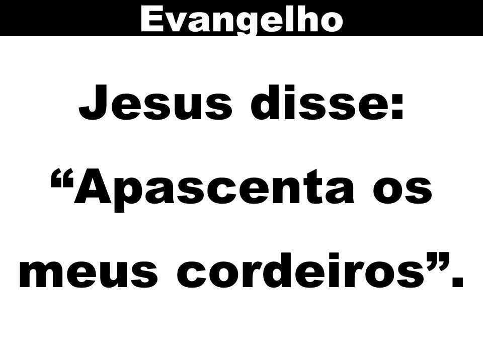 Jesus disse: Apascenta os meus cordeiros .