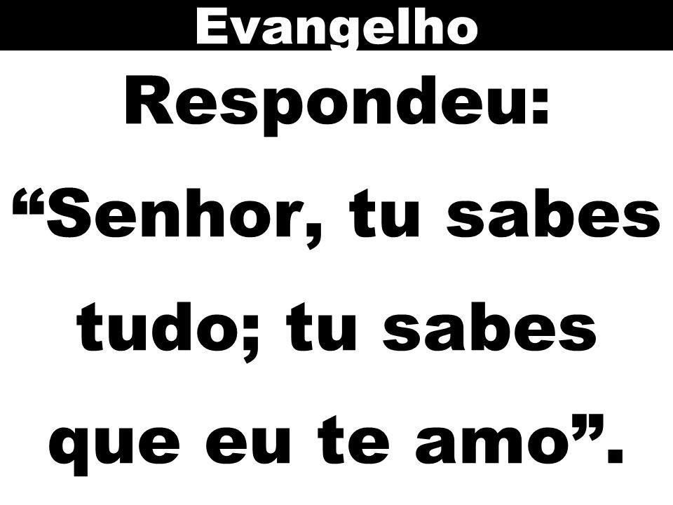 Respondeu: Senhor, tu sabes tudo; tu sabes que eu te amo .