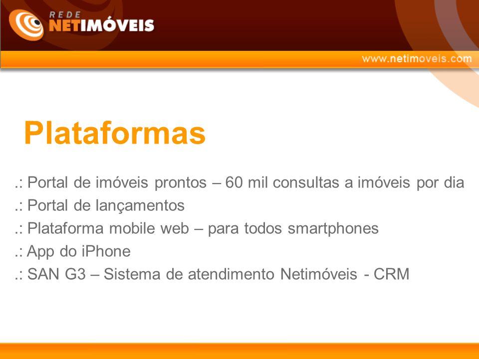 Plataformas .: Portal de imóveis prontos – 60 mil consultas a imóveis por dia. .: Portal de lançamentos.