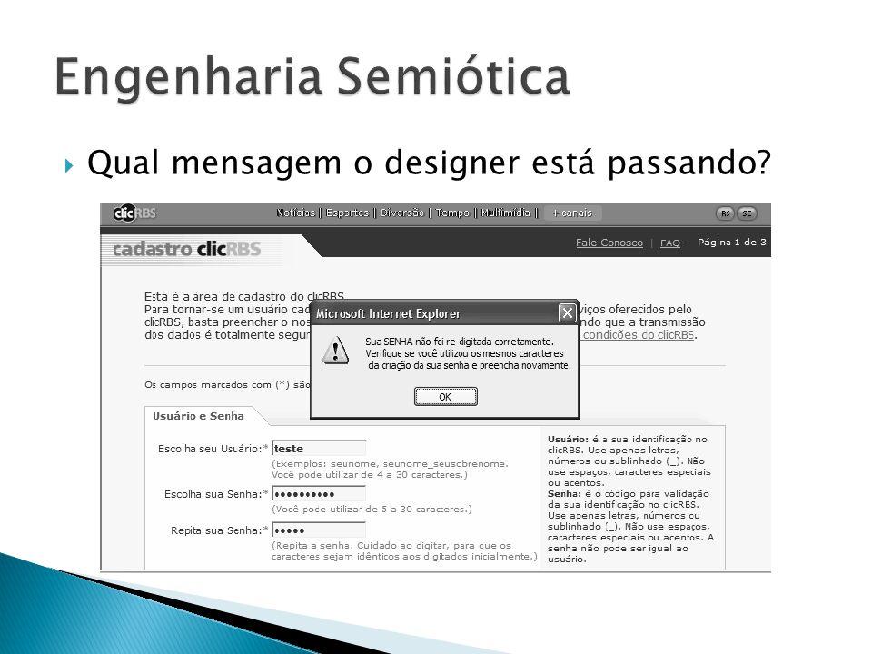 Engenharia Semiótica Qual mensagem o designer está passando