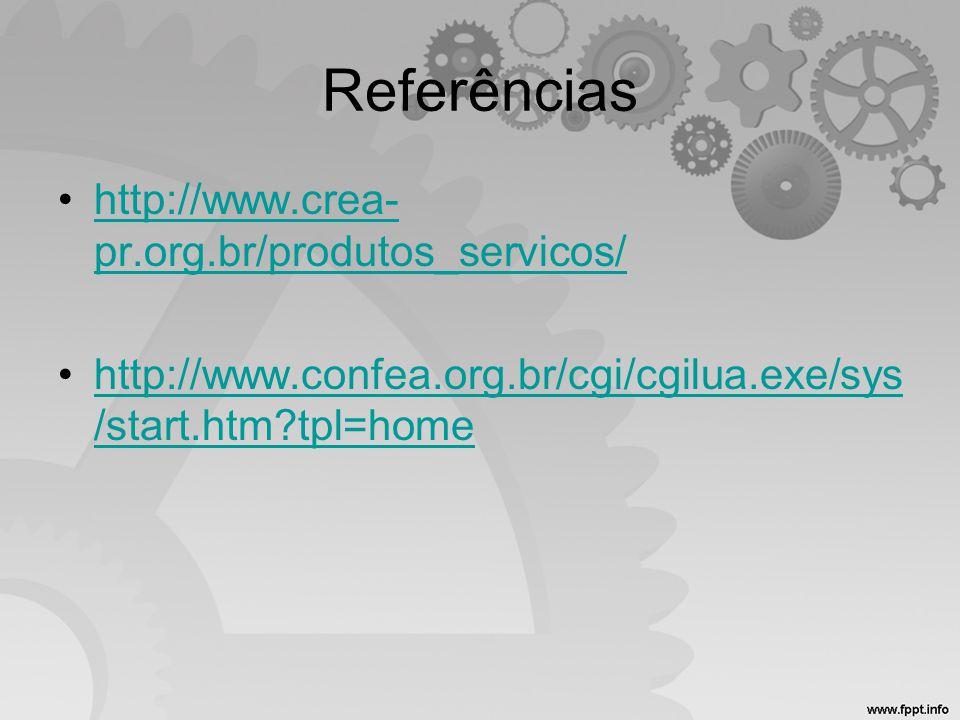 Referências http://www.crea-pr.org.br/produtos_servicos/