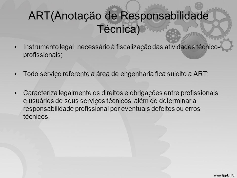 ART(Anotação de Responsabilidade Técnica)