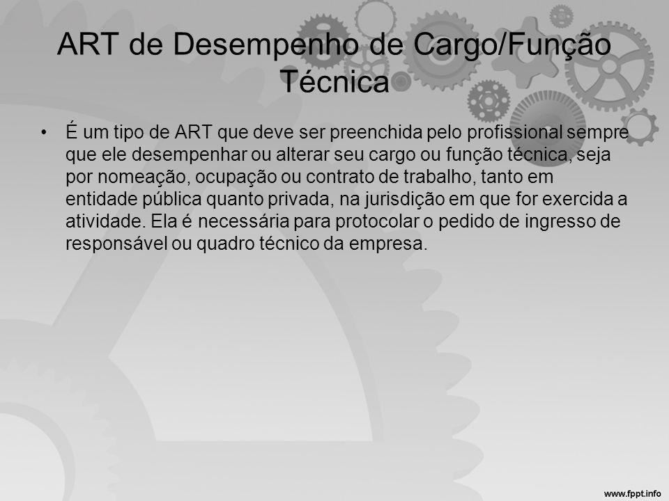 ART de Desempenho de Cargo/Função Técnica