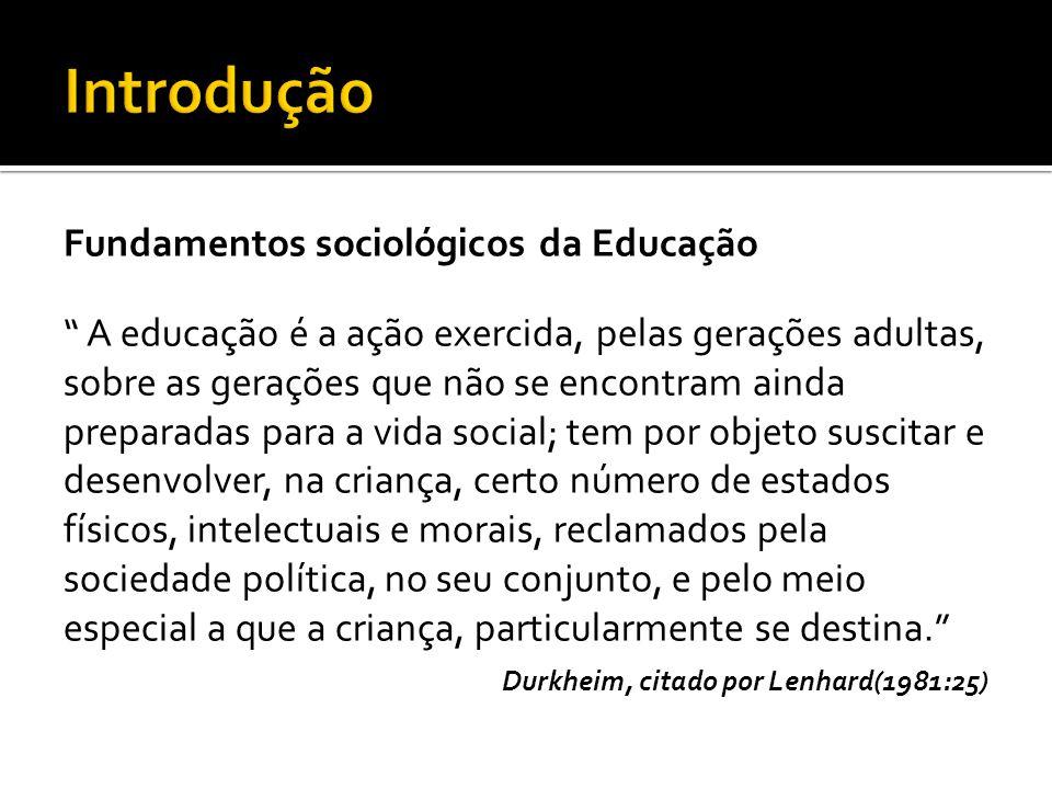 Introdução Fundamentos sociológicos da Educação