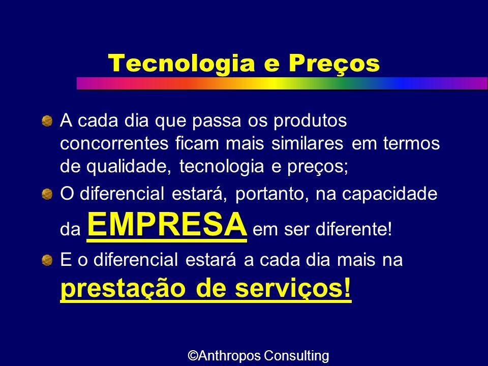 Tecnologia e Preços A cada dia que passa os produtos concorrentes ficam mais similares em termos de qualidade, tecnologia e preços;