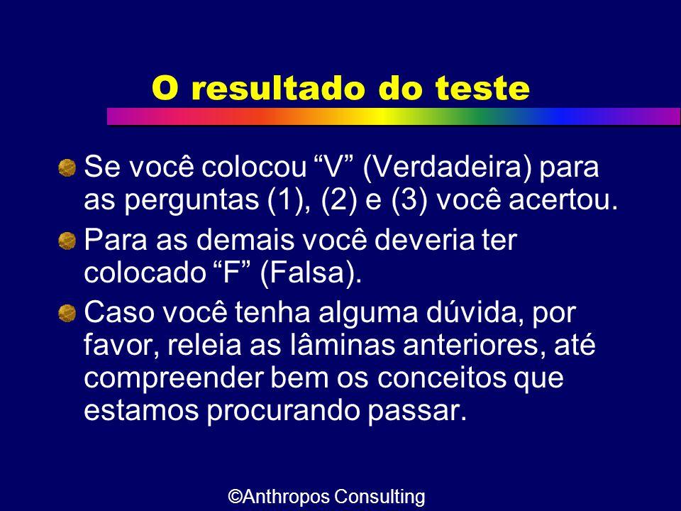 O resultado do teste Se você colocou V (Verdadeira) para as perguntas (1), (2) e (3) você acertou.