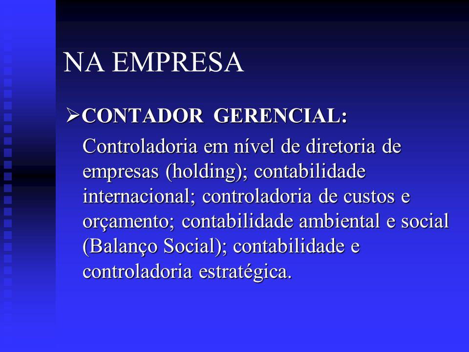 NA EMPRESA CONTADOR GERENCIAL:
