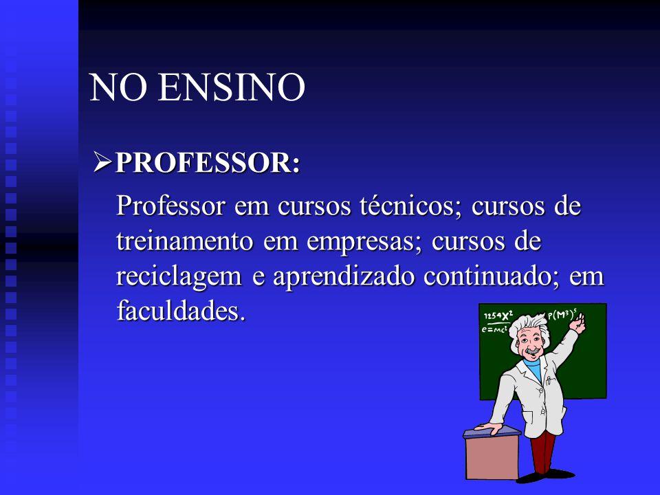 NO ENSINO PROFESSOR: Professor em cursos técnicos; cursos de treinamento em empresas; cursos de reciclagem e aprendizado continuado; em faculdades.