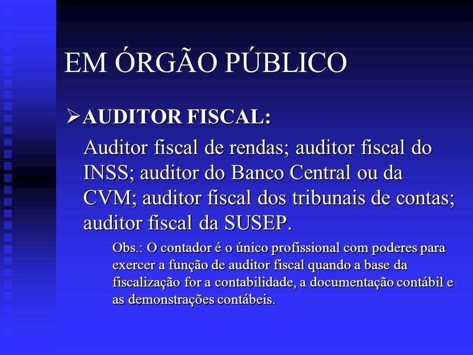 EM ÓRGÃO PÚBLICO AUDITOR FISCAL: