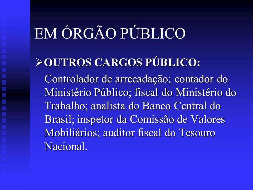 EM ÓRGÃO PÚBLICO OUTROS CARGOS PÚBLICO: