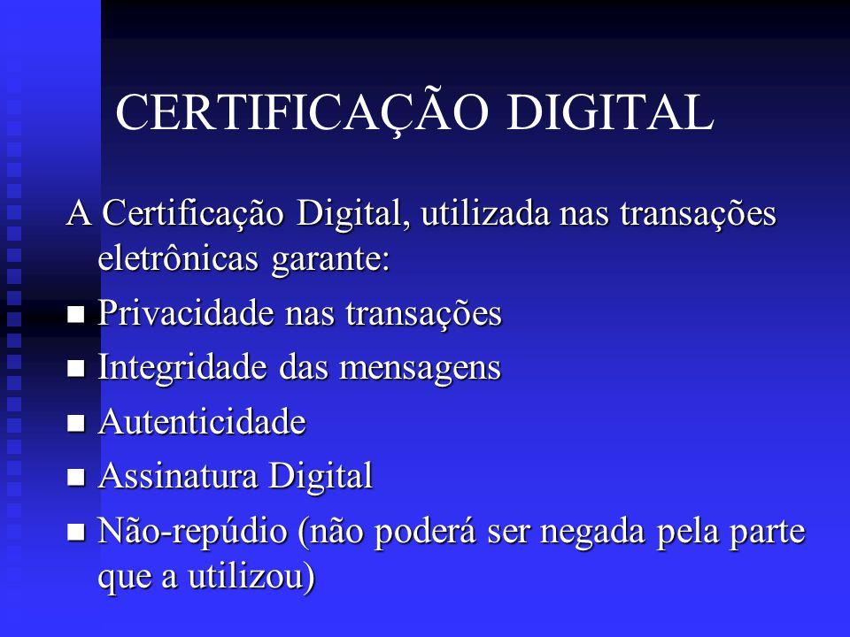 CERTIFICAÇÃO DIGITAL A Certificação Digital, utilizada nas transações eletrônicas garante: Privacidade nas transações.