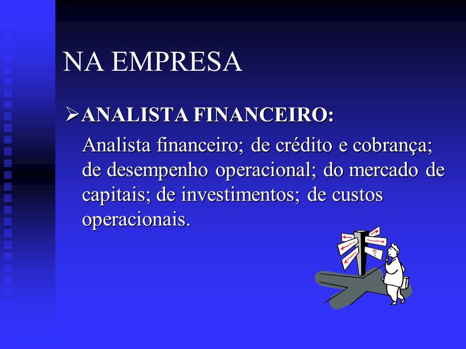 NA EMPRESA ANALISTA FINANCEIRO: