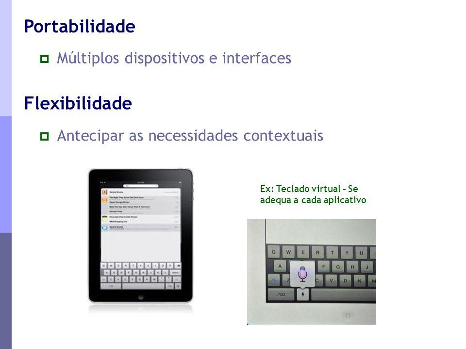 Portabilidade Flexibilidade Múltiplos dispositivos e interfaces