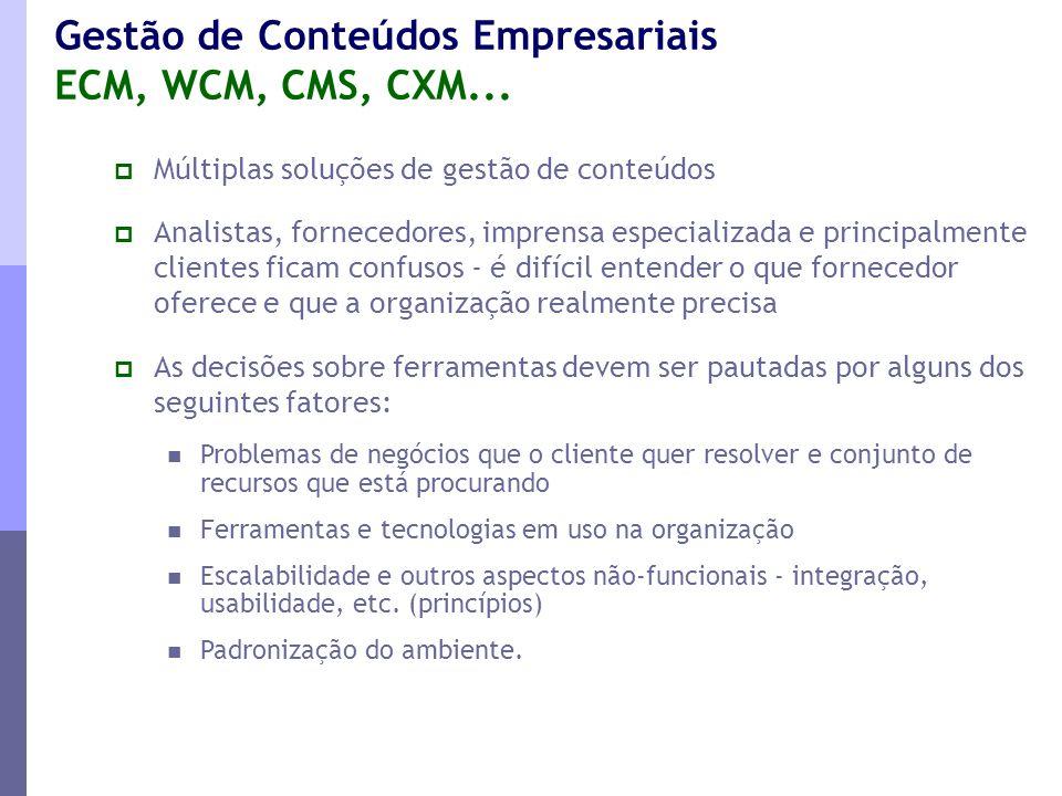 Gestão de Conteúdos Empresariais ECM, WCM, CMS, CXM...