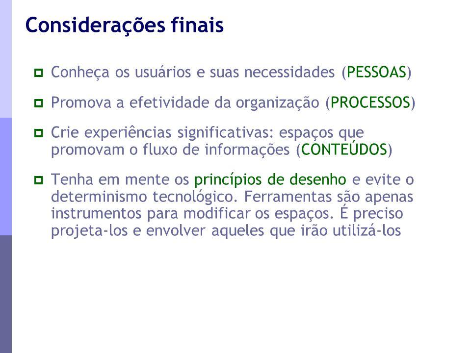 Considerações finais Conheça os usuários e suas necessidades (PESSOAS)
