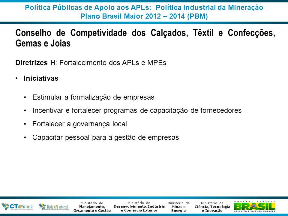 Política Públicas de Apoio aos APLs: Política Industrial da Mineração