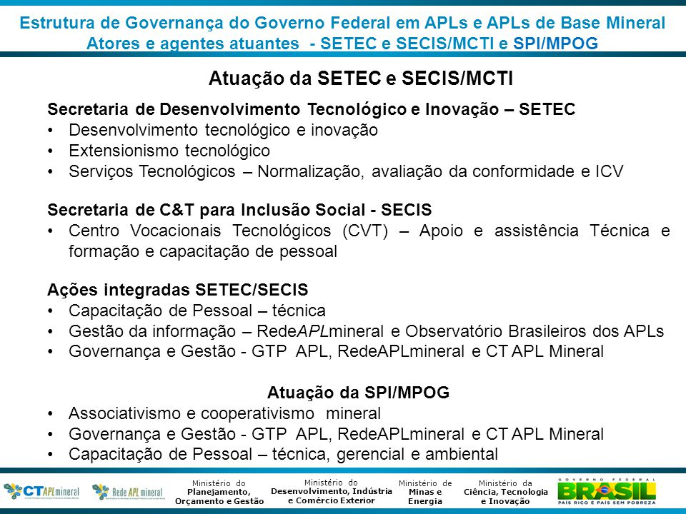 Atuação da SETEC e SECIS/MCTI