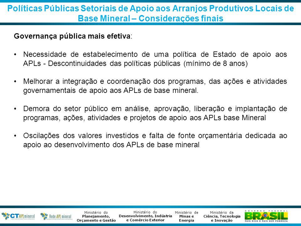 Políticas Públicas Setoriais de Apoio aos Arranjos Produtivos Locais de Base Mineral – Considerações finais