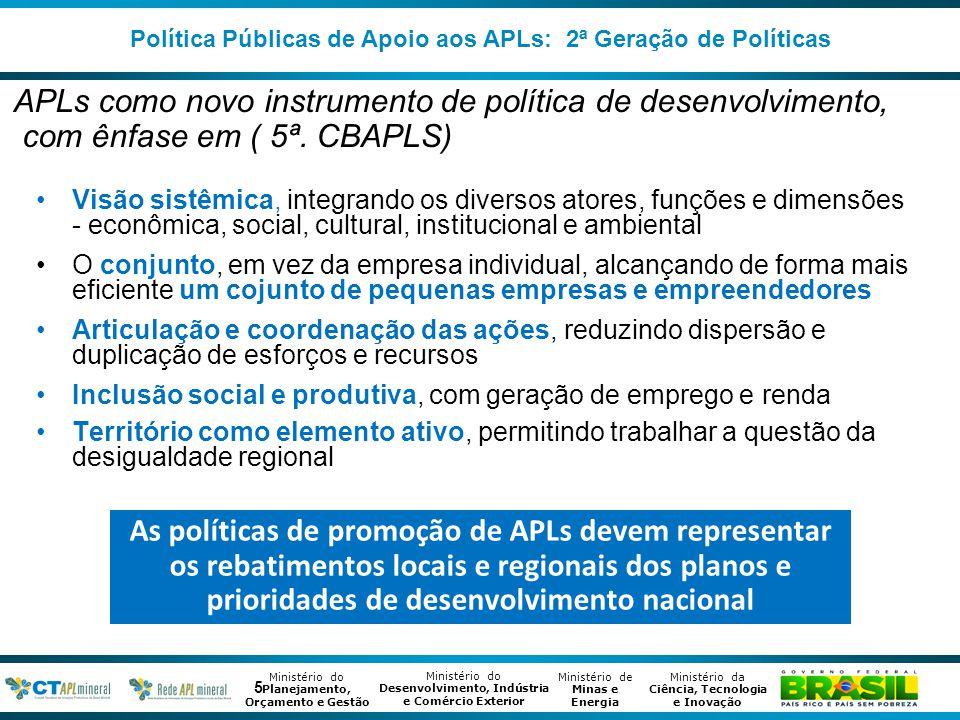 Política Públicas de Apoio aos APLs: 2ª Geração de Políticas