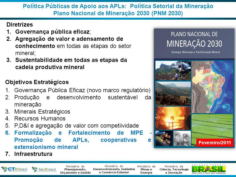 Política Públicas de Apoio aos APLs: Política Setorial da Mineração