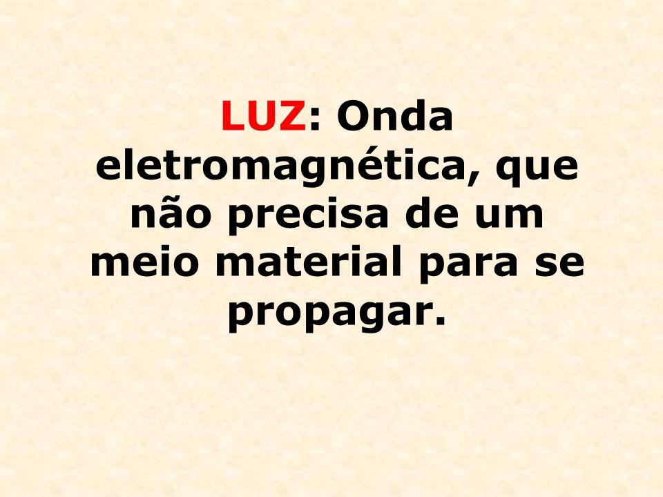 LUZ: Onda eletromagnética, que não precisa de um meio material para se propagar.
