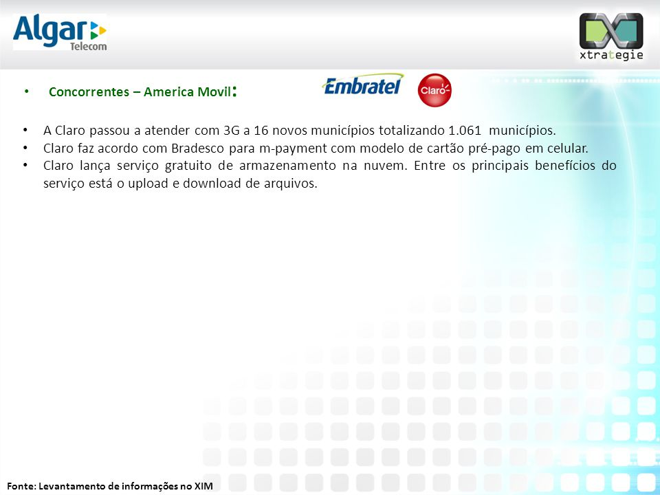 Concorrentes – America Movil: