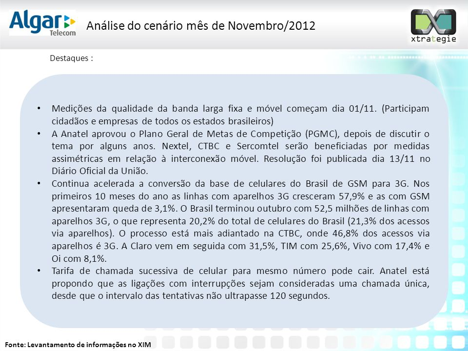 Análise do cenário mês de Novembro/2012